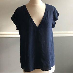 Joie Navy Blue Rubina V-Neck Silk Top